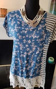 Tiny Anthropologie Floral and Striped Top